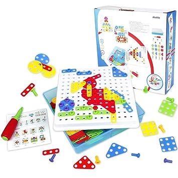 Kit De Mosaico, Color 3D Rompecabezas Bloques de Construcción Con un Destornillador y Tornillos 189 Pc Para Niños 3 4 5 6