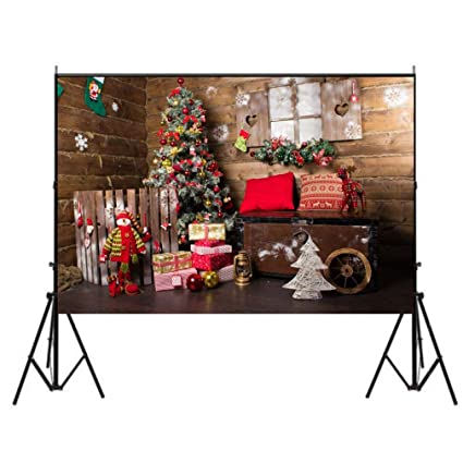 5x7ft old vintage wooden house photography backdrop background christmas xmas new year living room tree gift