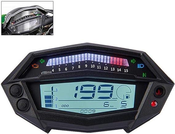 SANON Indicador de Velocidad del Veloc/ímetro del Tac/ómetro Digital de La Motocicleta para Kawas Z1000 Parte