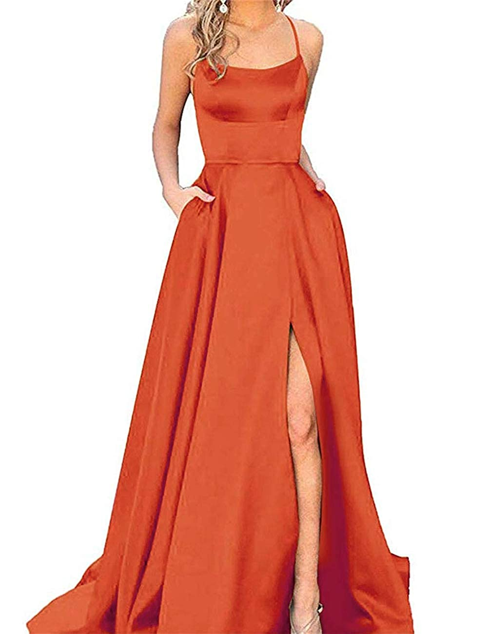 orange APXPF Women's Spaghetti Straps Satin Prom Dress Long Split ALine Formal Party Gown with Pockets