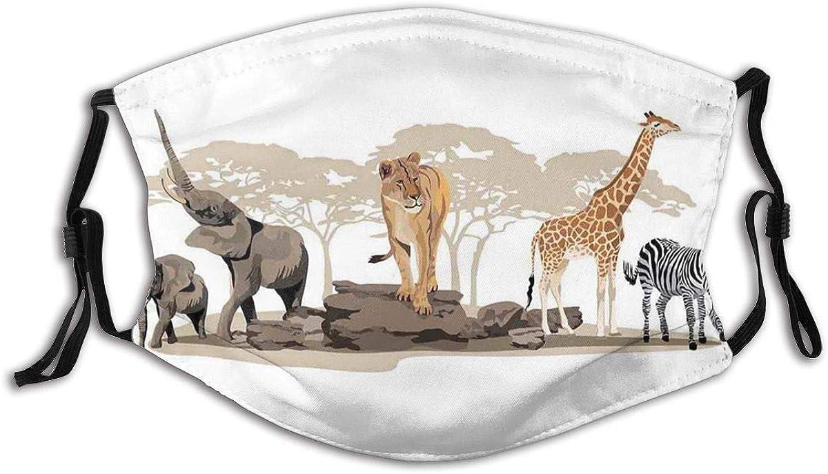Adult Mask Illustration of Wild Savannahs African Animals Exotic Giraffe Lion Elephant Zebra Fabric Cotton Face Masks Washable Cloth Masks for Men Women Cycling Camping Travel
