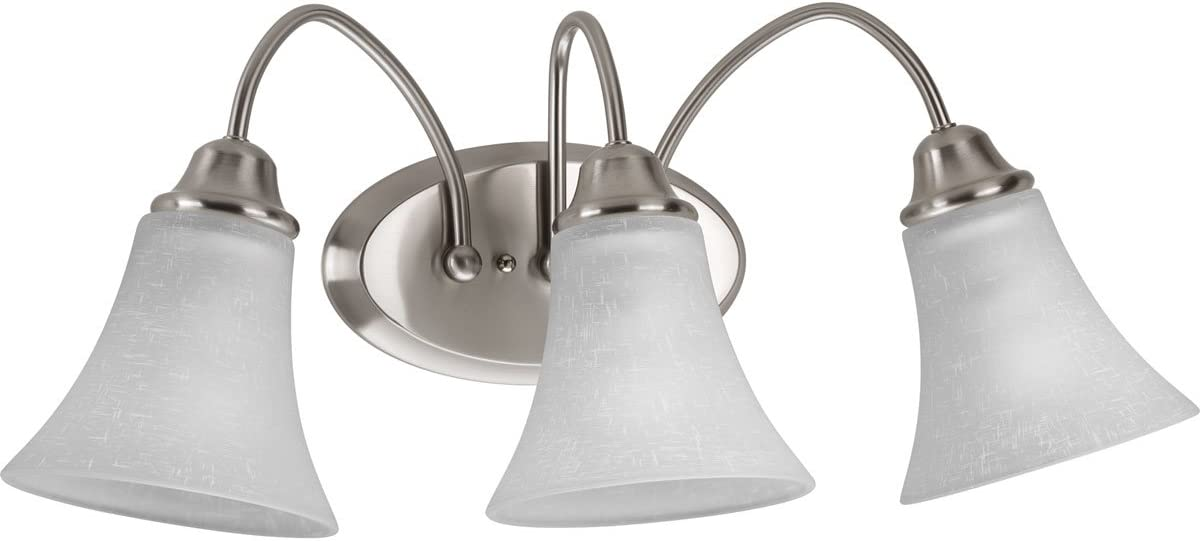 Progress Lighting P2763-09 Contemporary Soft 3-100W Med Bath Bracket, Brushed Nickel