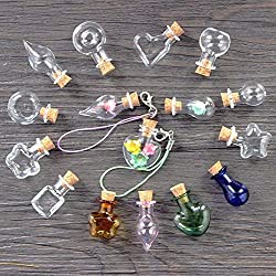 Mixed Shapes Mini Glass Bottles 10Pcs Cork Wood Hanging Rope Small Jars Wishing Bottles