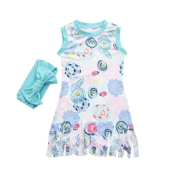 DRESS_start Vestido Para Bebé NiñAs Vestido Impresion Floral Sin Mangas Con Borlas Vestido Barato Princesa Fiesta