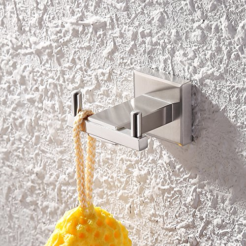 KES SUS 304 Stainless Steel Coat Hook Double Towel/Robe Clothes Hook for Bath Kitchen Garage Heavy Duty Contemporary Hotel Style Wall Mounted, Brushed Finish, (Double Wall Hook)