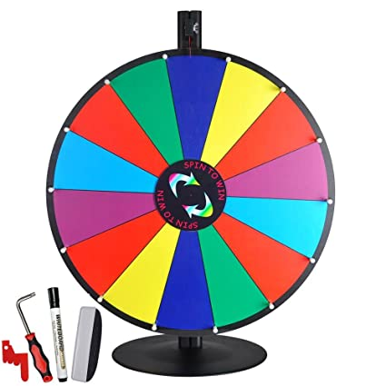 Amazon 24 tabletop color dry erase spinning prize wheel 14 24quot tabletop color dry erase spinning prize wheel 14 slot w aluminum stand diy maxwellsz