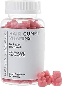 Angel Bear Hair Vitamins Gummies with Biotin 5000 mcg Vitamin C & E for Faster Hair Growth, Premium Pectin-Based, Non-GMO, for Stronger, Healthier Hair & Nails. Red Berry Supplement - 120 Gummy Bears