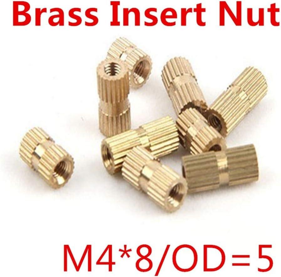 Bolt 唐铭鲆544162 100pcs//lot M48 M4 x 8 Brass Insert Nut with Closed End Single Thread Brass Knurl Nut OD 5mm Nuts