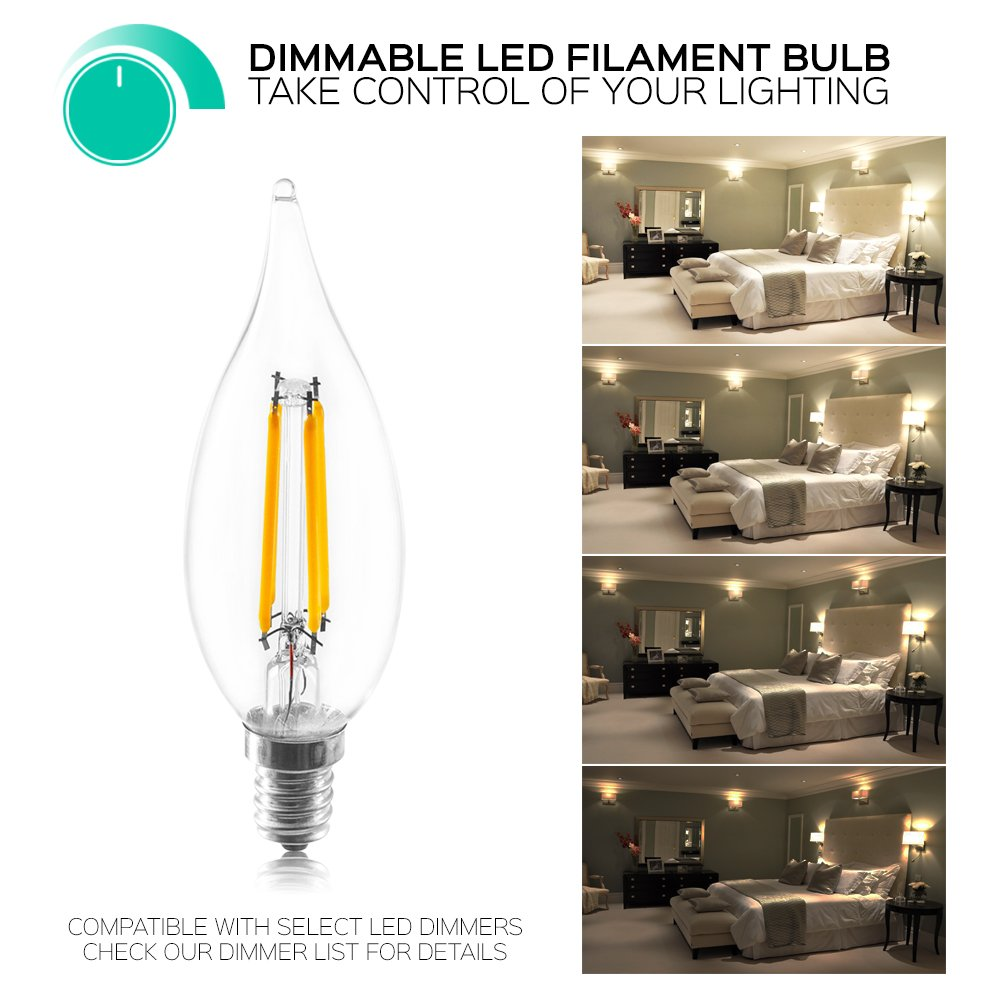 350 Lumens E12 Base Flame Tip Energy Star Damp Rated Dimmable 4-Pack Edison LED Filament Bulb 2700K Warm White 40W Candelabra Bulb LED UL Listed Luxrite 4.5W