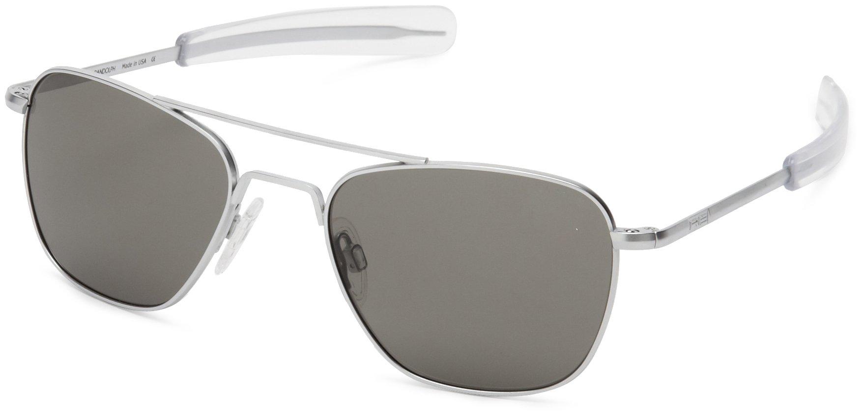 Randolph Aviator Square Sunglasses, 55, Matte Chrome, Bayonet, Gray Lenses