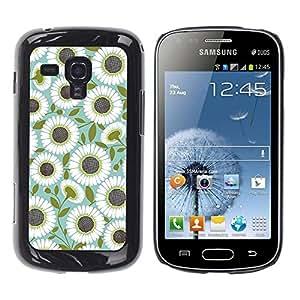 FECELL CITY // Duro Aluminio Pegatina PC Caso decorativo Funda Carcasa de Protección para Samsung Galaxy S Duos S7562 // Teal Olive Flower Floral Pattern