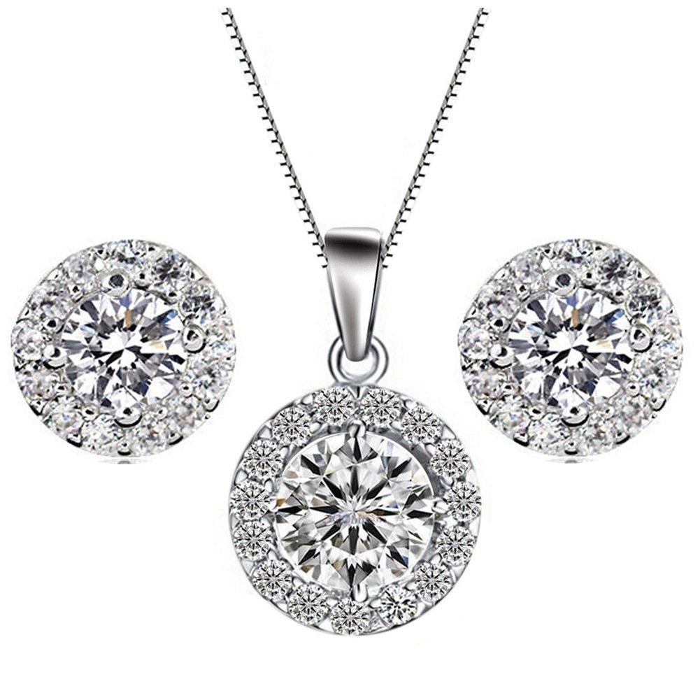 YiYi Operation Jewelry Sets Silver Necklace Earrings Chain Cubic Zirconia Women's Wedding