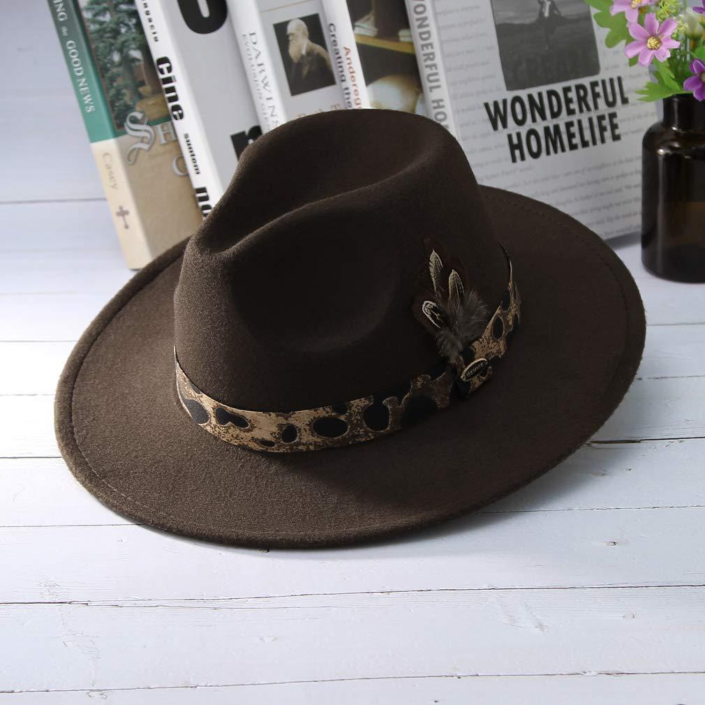 GEMVIE Chapeau Trilby Style Sauvage Chapeau avec Bande L/éopard Plume Naturel Mode Casquette Marron Vintage