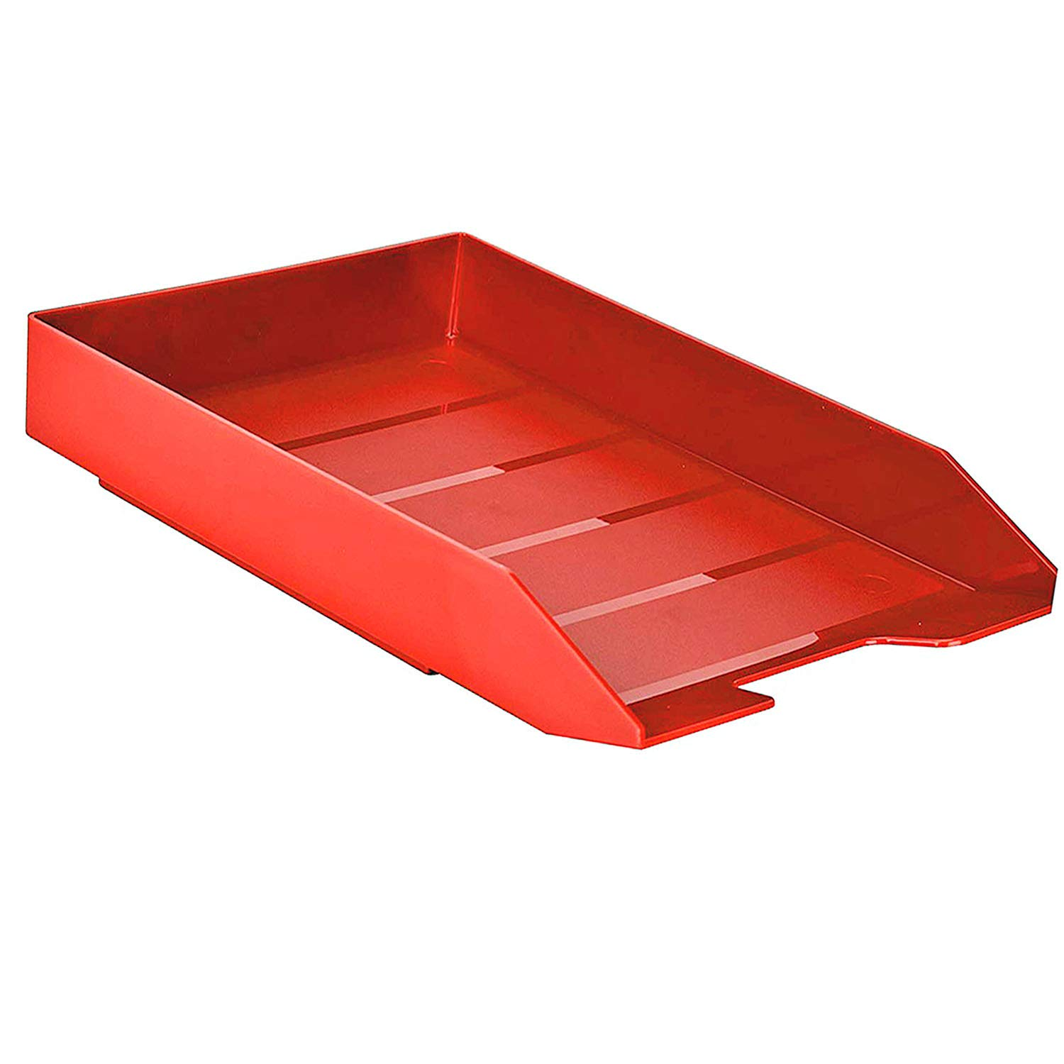 Solid Red Color Acrimet Stackable Front Load Letter Size Tray Plastic 1 Unit