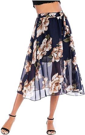 Midi Faldas Mujer Elegante Moda A-Línea Falda Floral Impresión ...