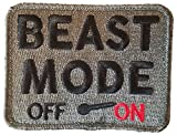 "[Single Count] Custom, Cool & Awesome {3.5'' x 2.75'' Inches} Rectangle ''Beast Mode Off On'' Tactical Combat Army Military Morale Badge (Military) Hook Fastener Patch ""Black, Red, & Silver"""