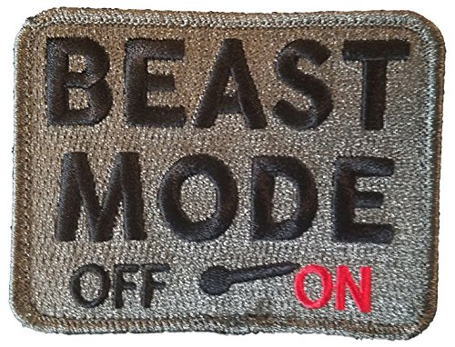 "[Single Count] Custom, Cool & Awesome {3.5'' x 2.75'' Inches} Rectangle ''Beast Mode Off On'' Tactical Combat Army Military Morale Badge (Military) Hook Fastener Patch ""Black, Red, & Silver"" by mySimple Products"
