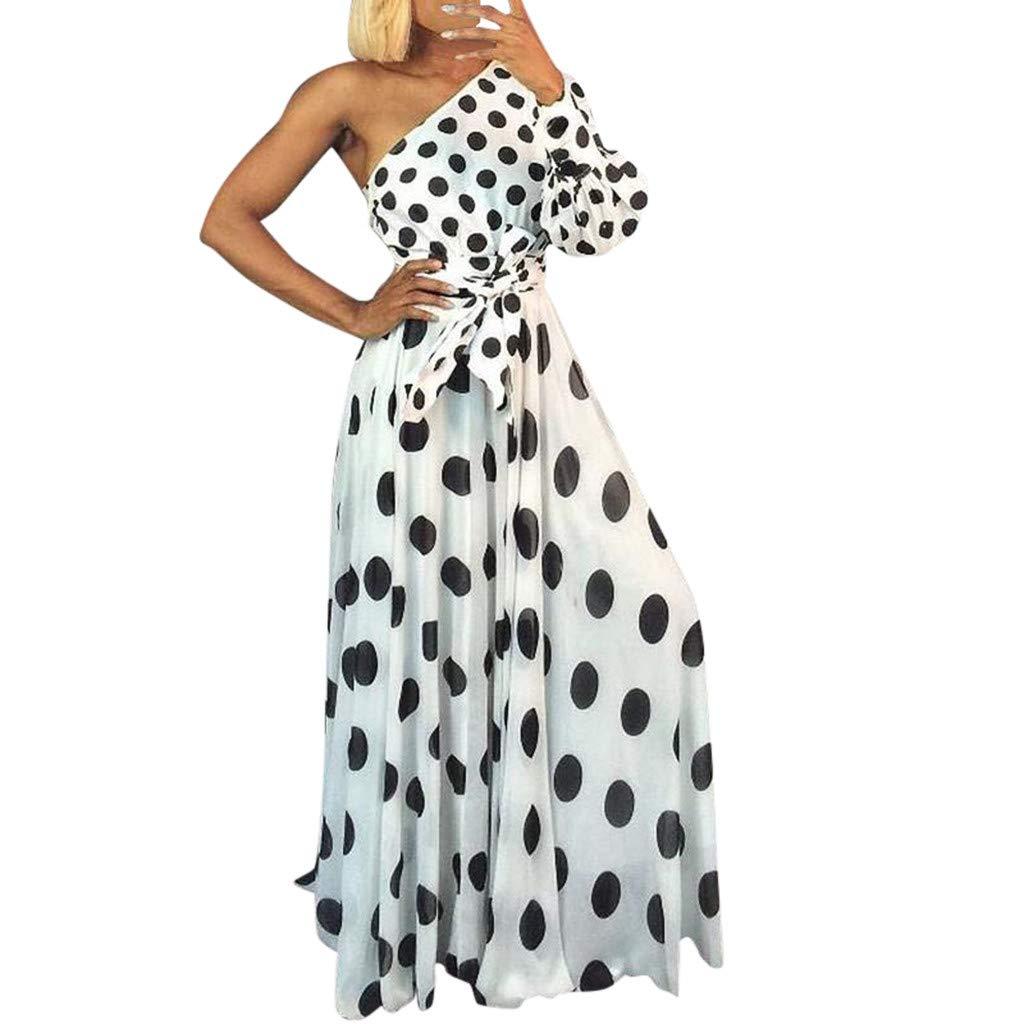 JJLIKER Womens Polka Dot Tie-Waist Maxi Dress One Shoulder Long Sleeve Swing Dress Fashion High Waisted Beach Dress White