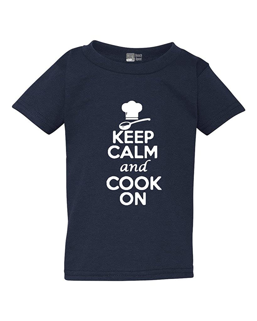 Keep Calm and Cook On Cuisine Restaurant Funny Toddler Kids T-Shirt Tee