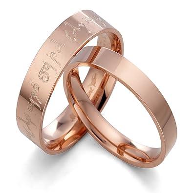 Anillo de oro rosa Anillo de pareja Anillo de bodas(con grabado personalizable, de
