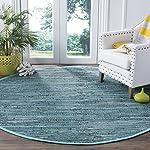 Safavieh Rag Rug Collection RAR127C Hand Woven Turquoise and Multi Cotton Round Area Rug (6 Diameter)