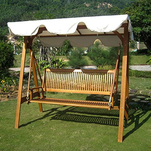 International Caravan Royal Tahiti Outdoor Glider and Swing Patio Furniture Set with Frame and Weather Proof Canopy (3 Seater Bench Set)