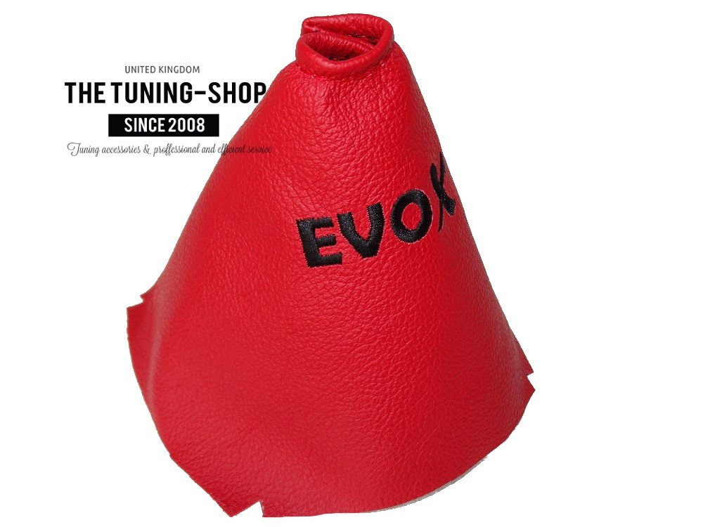 For Mitsubishi Lancer Evolution 10 X 2007-2014 6 Speed Shift Boot Red Genuine Leather EVO X Embroidery