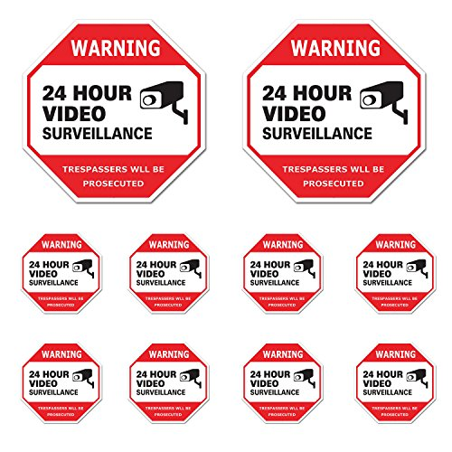 Video Surveillance Sign 10 Pack, CCTV 24 Hour Warning Sticker Door Window Yard Sign, Indoor & Outdoor Use (8- 3x3
