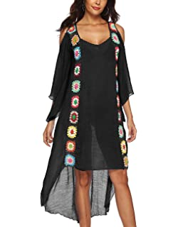 93b6a0ebcc Kistore Womens Loose Fit Half Sleeve Bikini Swimsuit Cover Up Flowy Long Beach  Dress with Tassel