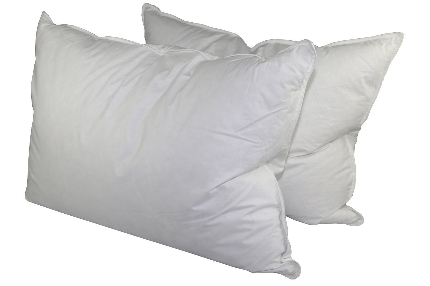 75% White Goose Feather / 25% White Goose Down Queen Pillow Set (2 Pillows)