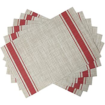 SiCoHome Placemats Set Of 6,Soft Woven Vinyl Placemats For Home,  Kitchen,Office