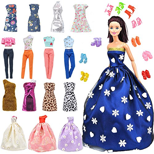 E-TING Lot 15 Items = 5 Sets Fashion Casual Wear Clothes/Outfit with 10 Pair Shoes for Barbie Doll Random Style … (Clothes+Wedding Dress + Short (Vintage Handmade Cloth)