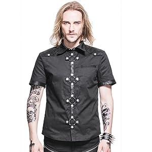Gothic Men Casual Shirts Cross Design Steampunk Short Sleeve Slim Tops