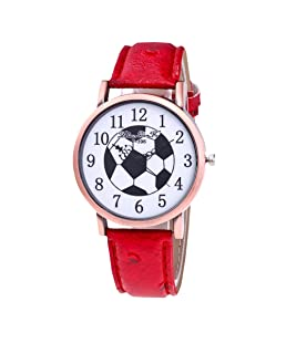 Loweryeah Womens Artificial Leather Arabic Numbers Soccer Dial Quartz Analog Watch Jewelry Watch 24cm