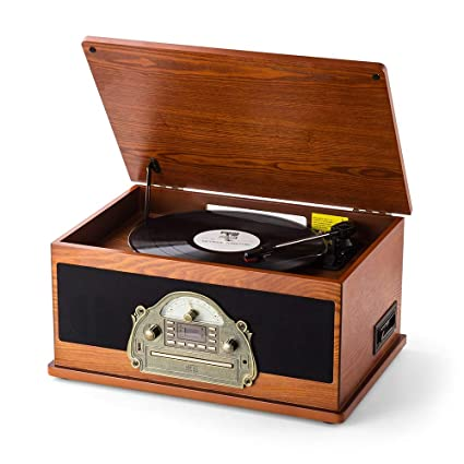 RCM MC-263 Brown Retro LP Wooden 6-in-1 Music Centre with 3 Speed Turntable,FM Radio,CD/MP3 Player, Wireless Connection with Portable Device,USB ...