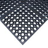 "Rubber-Cal 03_116_WBK""7/8-inch Dura Chef"" Rubber Comfort Kitchen Rubber Mats, 7/8"" x 38.5"" x 58.5"", Black"