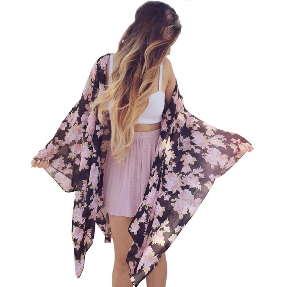 SANNYSIS Women Boho Floral Print Chiffon Loose Kimono Cardigan Top Cover Up Blouse SANNYSIS_B208