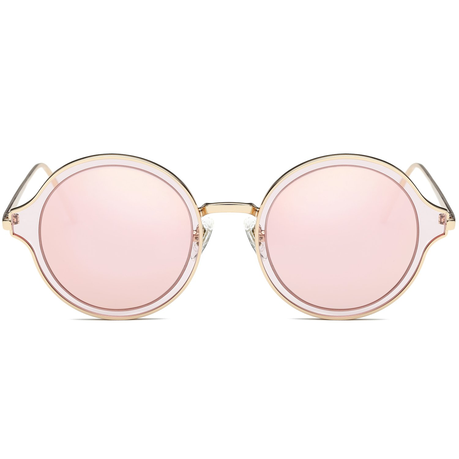 SOJOS Round Polarized Sunglasses Metal Frame Flat Lens Unisex Glasses SJ1058 with Gold Frame/Pink Mirrored Lens by SOJOS