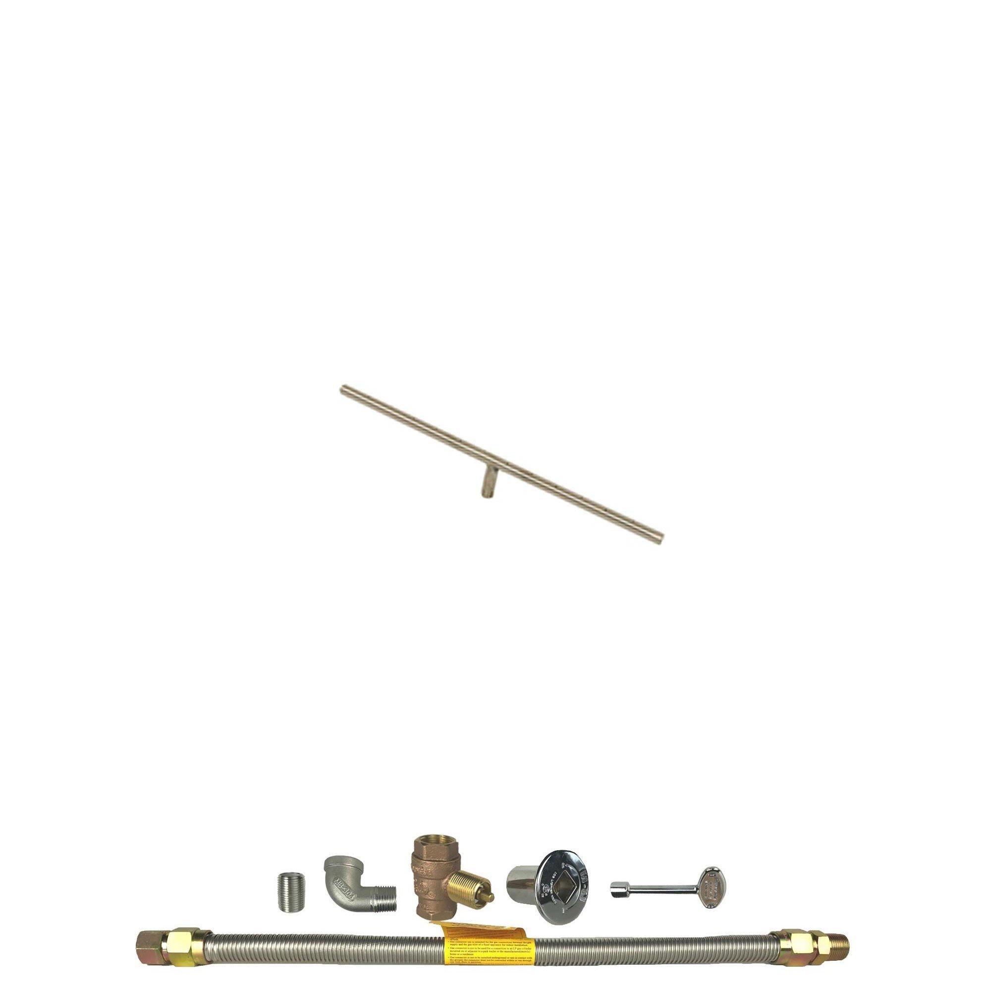Spotix HPC Linear T-Burner Fire Pit Burner Kit (FPS-TBSS24KIT-NG-MSCB), 24-Inch Burner, Match Light, Natural Gas by Spotix