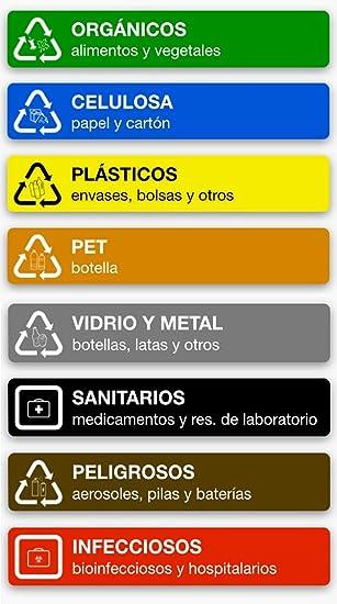 8 adhesivo pegatinas de reciclaje de residuos,orgánicos,celulosa,plásticos,PET,vidro y metal, sanitarios,peligrosos,infecciosos: Amazon.es: Bricolaje y ...