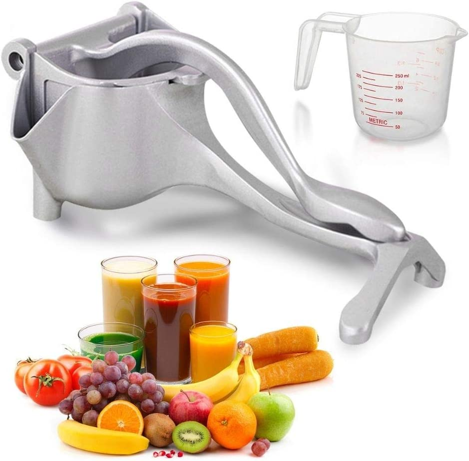 Manual Fruit Juicer with Measuring Cup| Stainless Steel Fruit Juicer with Platinum Crate Juicer Hand Juicer-Easy Fresh Fruit Juicer Press Handheld Fruit Juice Squeezer for a Healthy DIY Citrus Juicer