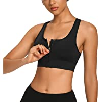 WOWENY Women's Zip Front Sports Bra with Removable Padded Cups Wireless Post-Surgery Bra Racerback Top Active Yoga Bras