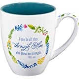 """Watercolor Collection Mug: """"I Can Do All Things Through Him"""" - Philippians 4:13"""