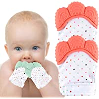 Teething Mitten 2 Pairs-Baby Glove Stimulating Teether Toys for Boys & Girls-Teething Glove for 3-6 Months Baby (Coral…