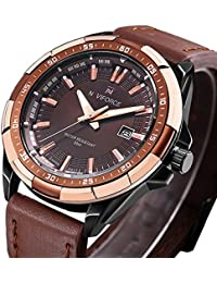 Analog Men's Quartz Watch Calendar Watches Brown Leather...