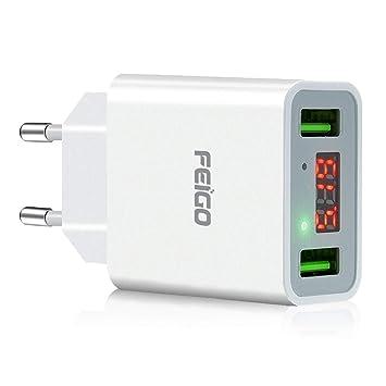 FEIGO Cargador de Viaje Cargador Movil Universal Adaptador Cargador USB de Pared con 2 Puertos USB EU Universal Cargador con Pantalla LCD Visualizació ...