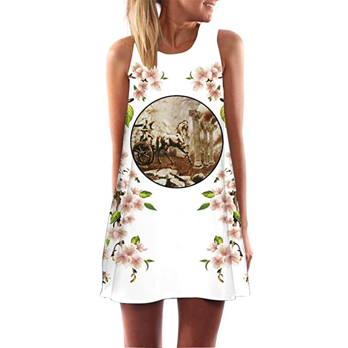 BBestseller Vestido Para Mujer, Vintage BOHO mujeres Verano playa mini vestido sin mangas corta impreso