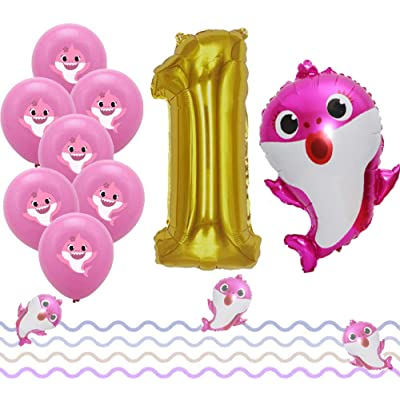 LaVenty Set of 12 Cute pink Sharks 1st Balloons Sharks First Birthday Party Decoration girl Sharks One Balloons girls 1st Birthday Party Decoration: Toys & Games