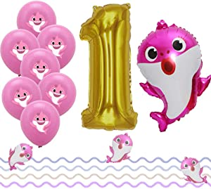LaVenty Set of 12 Cute pink Sharks 1st Balloons Sharks First Birthday Party Decoration girl Sharks One Balloons girls 1st Birthday Party Decoration