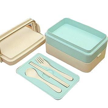 Amazon.com: Bento Box, 2 capas, solución de almuerzo ...